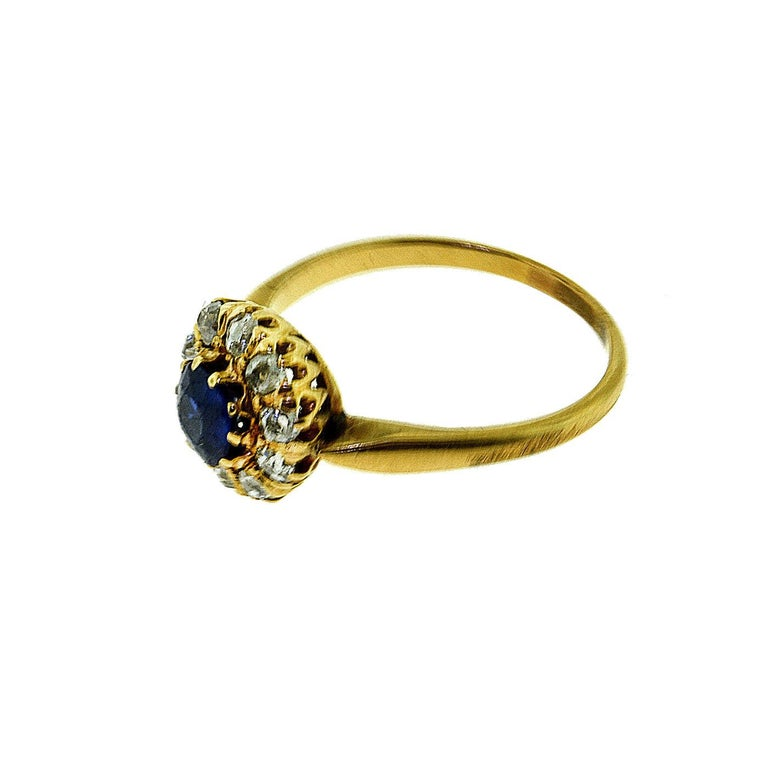 Brilliance Jewels, Miami Questions? Call Us Anytime! 786,482,8100  Ring Size: 6.5 , sizable on request  Style: Art Deco Ring  Era: 1940s Art Deco  Metal: Yellow Gold  Metal Purity: 18k  Stones:  1 Round Natural No Heat Sapphire, Old European
