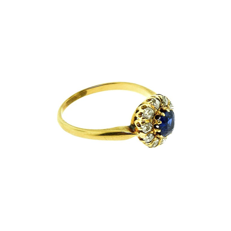 Women's or Men's GIA No Heat Sapphire Antique Victorian Diamond Gold Ring For Sale