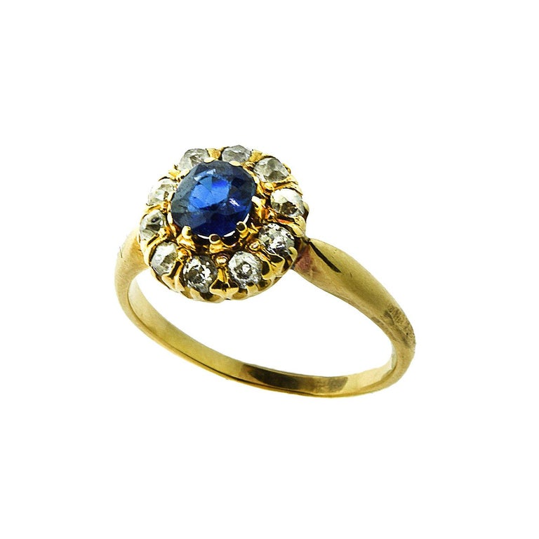 GIA No Heat Sapphire Antique Victorian Diamond Gold Ring For Sale 1