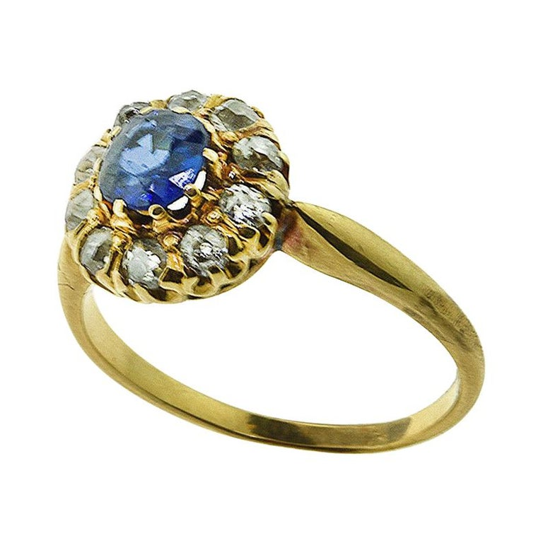 GIA No Heat Sapphire Antique Victorian Diamond Gold Ring For Sale