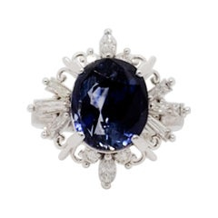 GIA No Heat Sri Lanka Blue Sapphire Oval and White Diamond Cocktail Ring