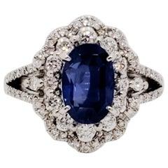 GIA No Heat Sri Lanka Blue Sapphire Oval and White Diamond Ring in Platinum