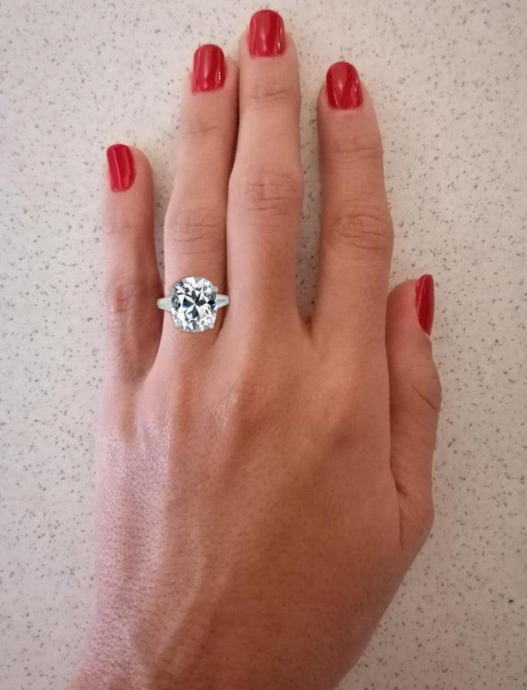Art Deco GIA Brilliant Cushion 4.65 Carat Diamond Ring For Sale