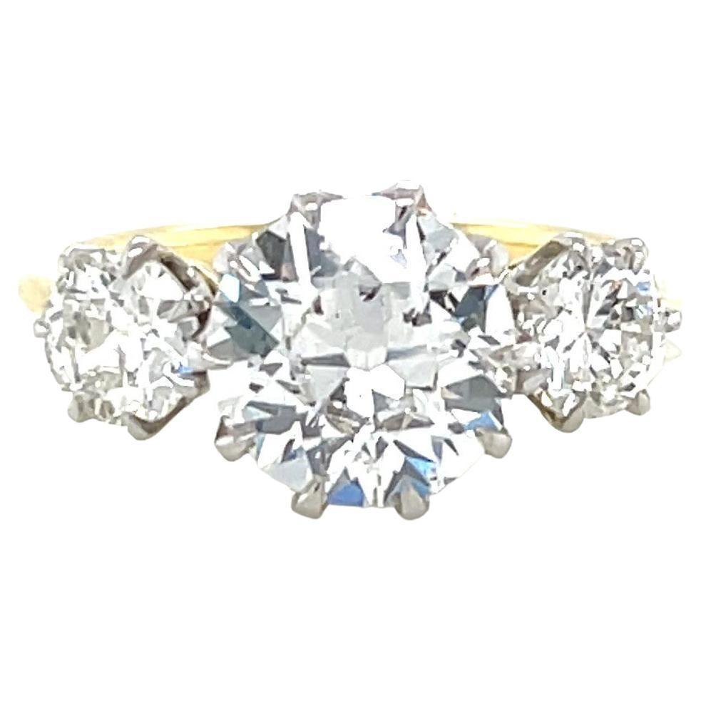 GIA Old European Cut Diamond 3-Stone Engagement Ring