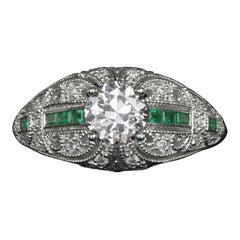 GIA Old European Cut Emerald Diamond Filigree White Gold Ring