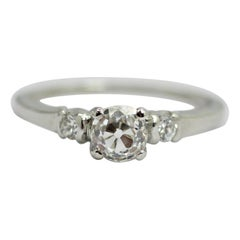 GIA Old European Diamond .84pts. Solitaire with Accent in Platinum
