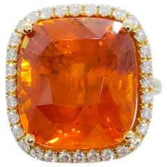 GIA Orange Sapphire Cushion and White Diamond Round Cocktail Ring