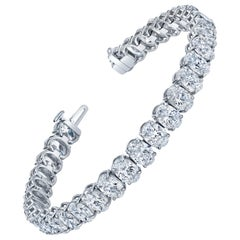 GIA Oval Cut Diamonds Straight Line Bracelet
