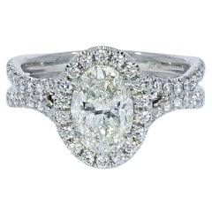 GIA Oval Diamond Halo Platinum Engagement Ring