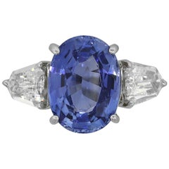 GIA Oval Sapphire Ring with Diamonds