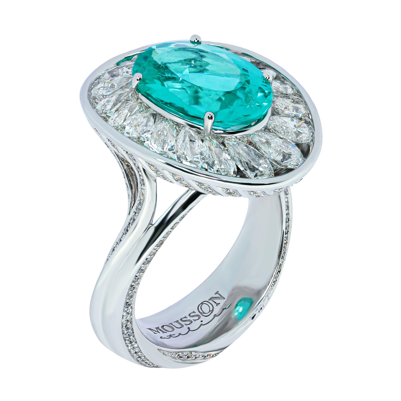 GIA Certified 4.14 Carat Paraiba Tourmaline Diamonds 18 Karat White Gold Ring