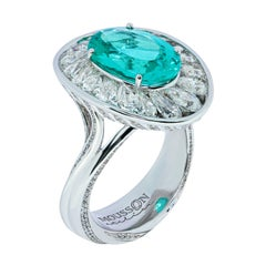 GIA Certified 4.14 Carat Paraiba Tourmaline Diamonds 18 Karat White Gold Ring