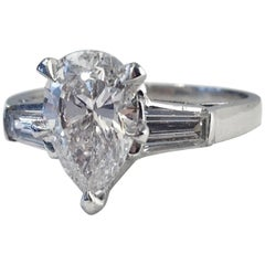 GIA Pear Cut Diamond Engagement Ring Platinum