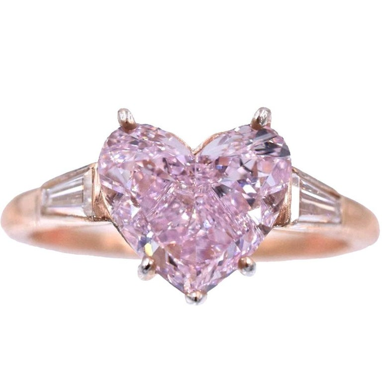 GIA Pink Color Heart Shape Diamond Ring