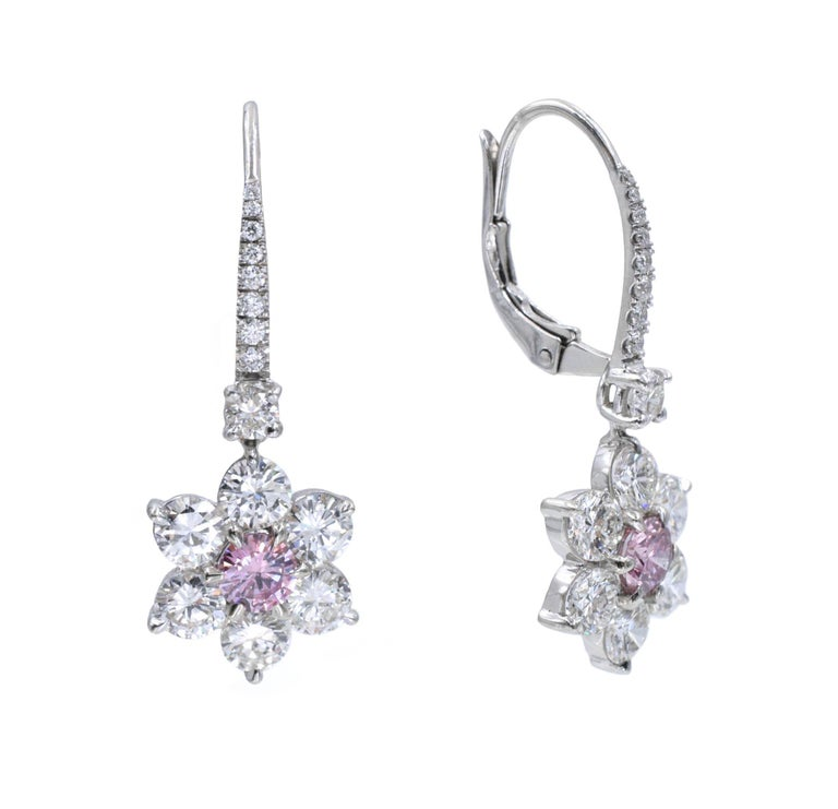 Artist GIA Pink Diamond Earrings For Sale