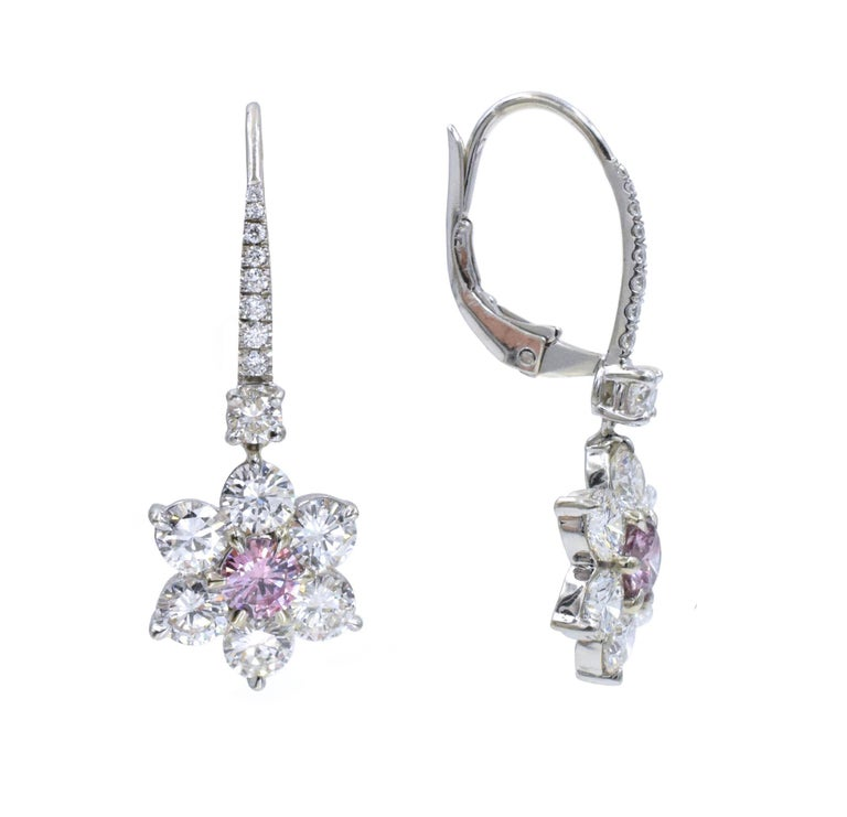 Round Cut GIA Pink Diamond Earrings For Sale