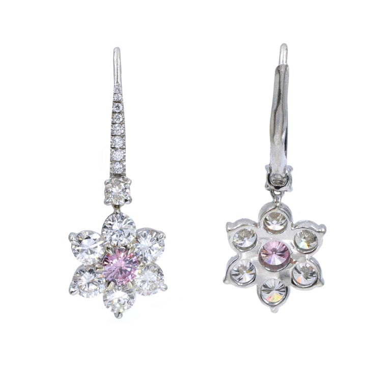 GIA Pink Diamond Earrings In New Condition For Sale In New York, NY