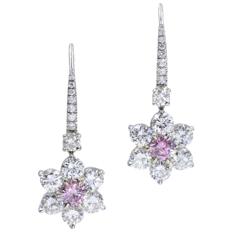 GIA Pink Diamond Earrings For Sale