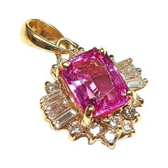 GIA Pink Sapphire 2.44 Carat and Diamond Pendant