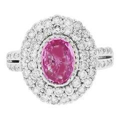 GIA Pink Sapphire Halo Diamond Ring Natural Unheated 2.22 Carat