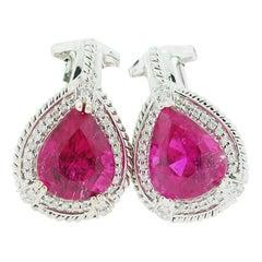 GIA Pink Tourmaline Diamond Earrings 4.21 Carat