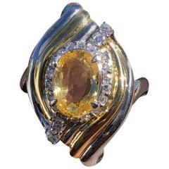GIA Platinum & 18k Natural No Heat Yellow Sapphire & Diamond Ring 3.28ctw 12.8g