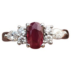 GIA Platinum Natural Burma Ruby and Diamond Ring 1.47 Carat Vivid Red