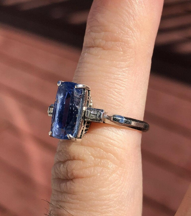 GIA Platinum Natural Gem No Heat AAA Sapphire and Diamond Ring 4.41 Carat In Good Condition In Beverly Hills, CA