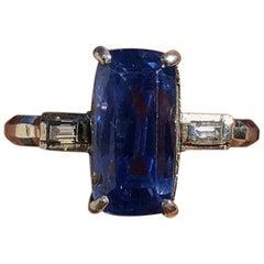 GIA Platinum Natural Gem No Heat AAA Sapphire and Diamond Ring 4.41 Carat