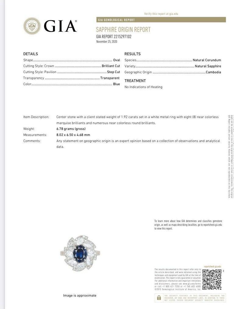 GIA Platinum Natural Gem No Heat AAA Sapphire and Diamond Ring 4.41 Carat 1