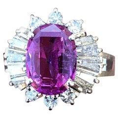 GIA Platinum Natural Pink Sapphire and Diamond Ring 4.44 Carat