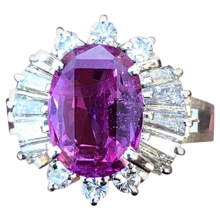 GIA Platinum Natural Pink Sapphire and Diamond Ring 4.44 Carat For Sale