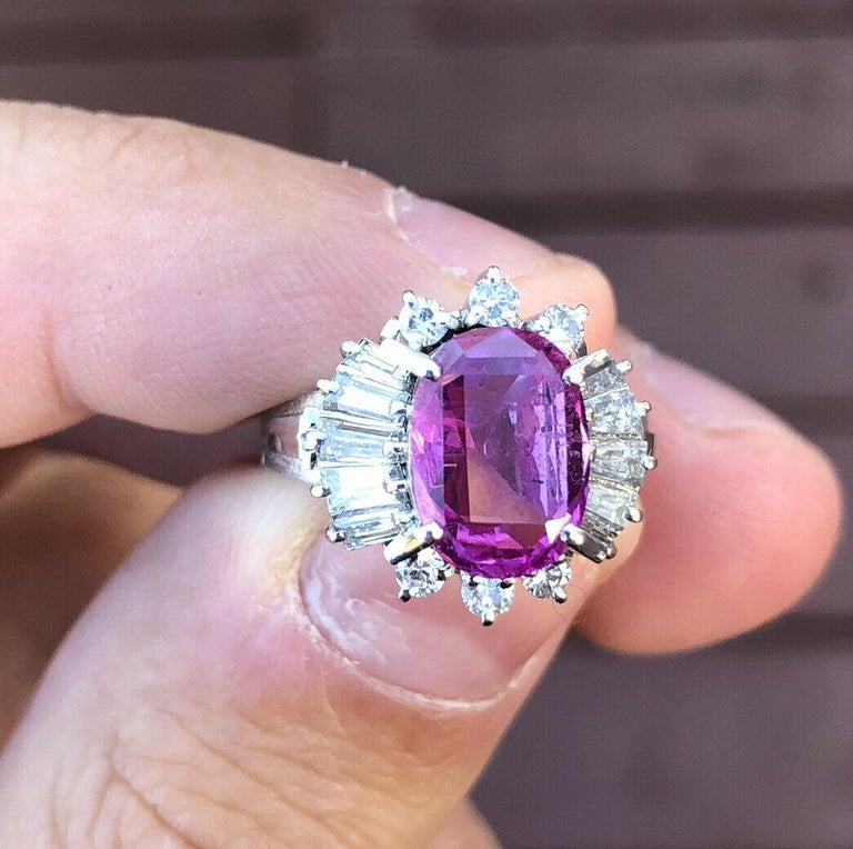Oval Cut GIA Platinum Natural Pink Sapphire and Diamond Ring 4.44 Carat For Sale