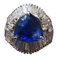 GIA Platinum Natural Sapphire and Diamond Ring 6.79 Carat