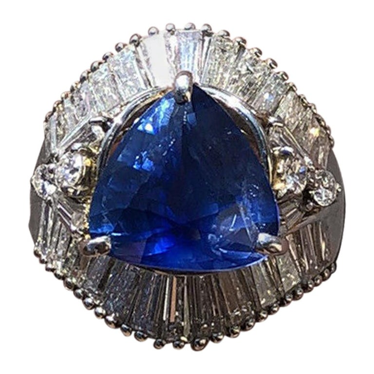 GIA Platinum Natural Sapphire and Diamond Ring 6.79 Carat For Sale