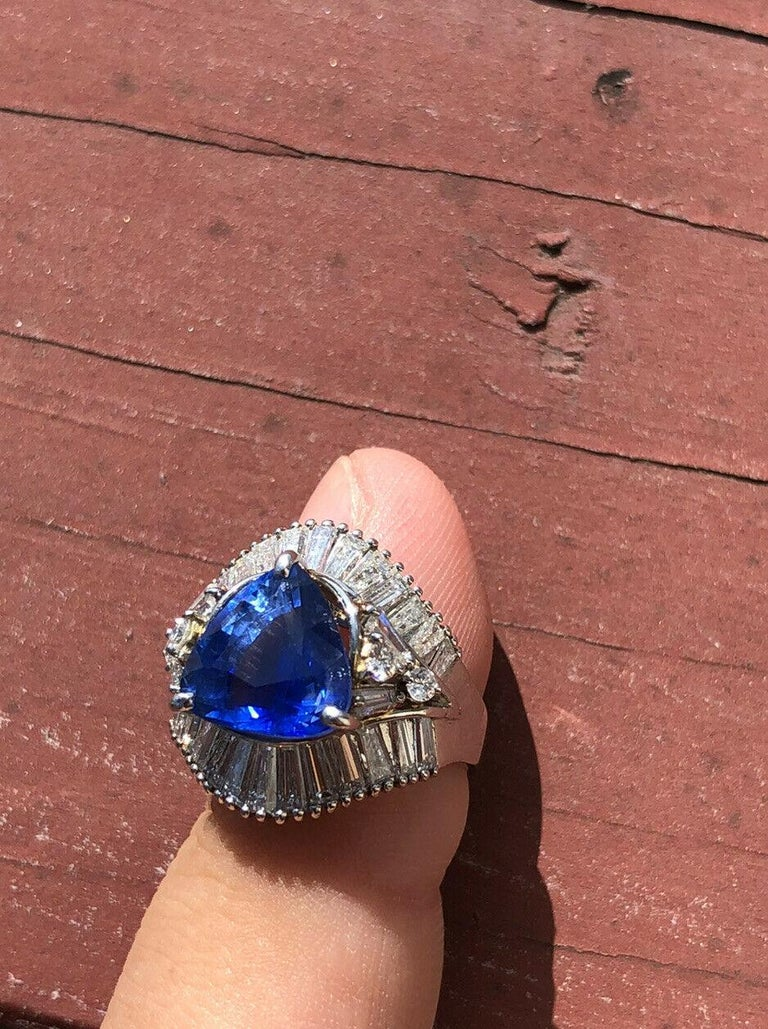 Trillion Cut GIA Platinum Natural Sapphire and Diamond Ring 6.79 Carat For Sale