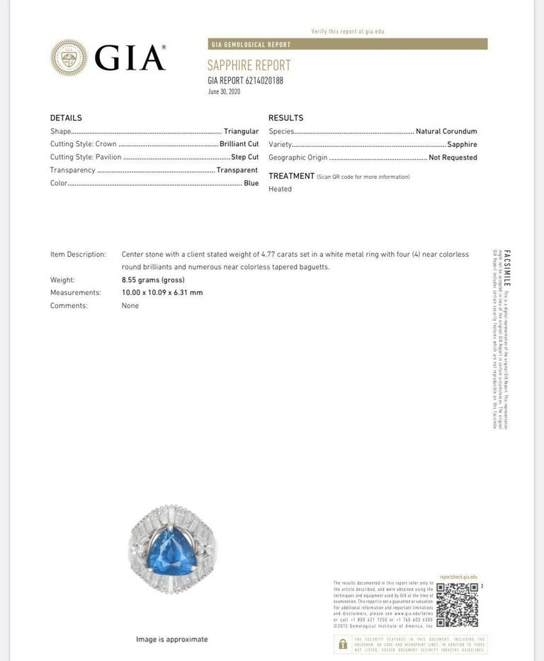 GIA Platinum Natural Sapphire and Diamond Ring 6.79 Carat For Sale 2
