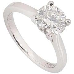 GIA Platinum Round Brilliant Cut Diamond Solitaire Ring 1.80 Carat H/SI1