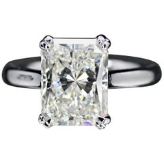 GIA Radiant 4.00 Carat K VVS1 in 14 Karat White Gold Solitaire