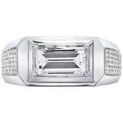 GIA Rectangular Step Cut Ring Set with Brilliant Cut Diamonds, 2.16 Carat