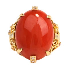 GIA Red Salmon Natural Coral Diamond Sapphire 18k Gold Geometric Cocktail Ring