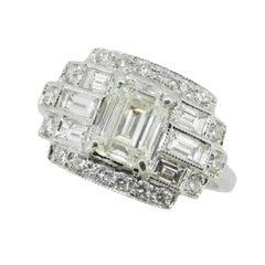 GIA Report 18k Gold 2.3 Carat TW Emerald Cut Genuine Natural Diamond Ring #J4583