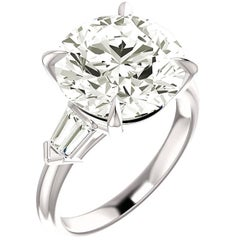 GIA Report 6.00 Carat Round Diamond Platinum Solitare Engagement Ring