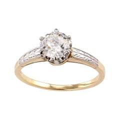 GIA Report Certified 0.80 Carat Yellow Gold Platinum Edwardian Engagement Ring