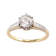 GIA Report Certified 0.80 Carat Yellow Gold Platinum Edwardian Engagement Ring