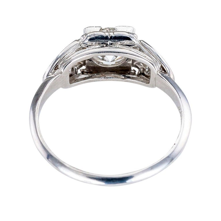 Women's or Men's GIA Report Certified 0.83 Carat Diamond Solitaire Platinum Engagement Ring For Sale
