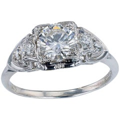 GIA Report Certified 0.83 Carat Diamond Solitaire Platinum Engagement Ring