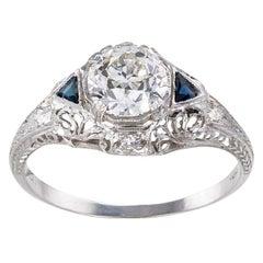 GIA Report Certified 0.87 Carat Diamond Art Deco Engagement Ring
