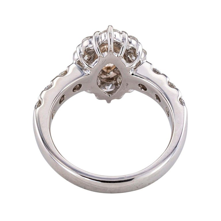 Marquise Cut GIA Report Certified 0.88 Carat Light Brown Marquise Diamond Engagement Ring For Sale