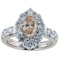 GIA Report Certified 0.88 Carat Light Brown Marquise Diamond Engagement Ring